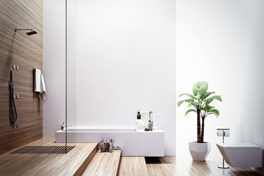 Salle de bain design douche l 39 italienne sur estrade en teck - Douche a l italienne design ...