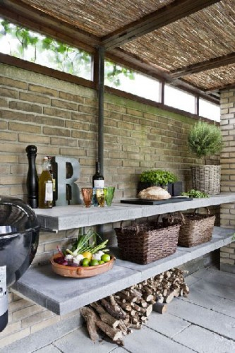 am nagement cuisine d 39 ext rieur sous abris de jardin en briques. Black Bedroom Furniture Sets. Home Design Ideas