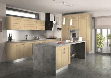 Les couleurs naturelles font la déco de cette cuisine ouverte pratique et chaleureuse grâce à un îlot fonctionnel et pratique ! Une cuisine charmante et conviviale