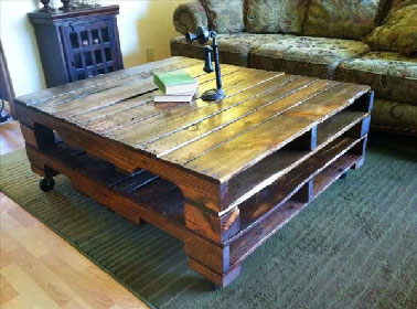 Fabriquer une table base avec 2 palettes superpos es - Fabriquer une table basse avec des palettes ...