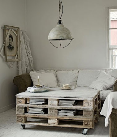 faire une table basse en palette style r tro chic. Black Bedroom Furniture Sets. Home Design Ideas