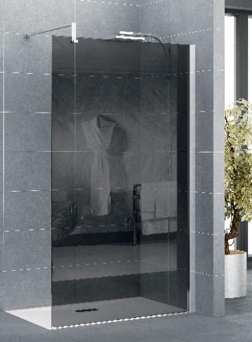 Paroi douche sans porte en verre fumé existe 5 largeurs de 90 à 140 cm et verre transparent avec bande dépolie. 3 systèmes de barre de renfort et  baguette cache-silicone chromée Réf : Paroi Exclusive Solo Kinedo