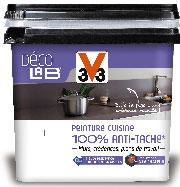 La peinture cuisine Déco Lab V33 est disponible en pot de 750 ml et 2l en 10 coloris satin et une finition Inox chez Leroy Merlin