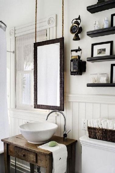 Petit meuble bois pour plan vasque r tro - Protection bois salle de bain ...