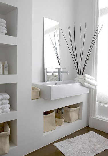 Plan vasque int gr dans meuble rangement salle de bain for Plan petite salle de bain ikea