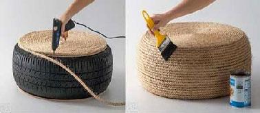 Après avoir recouvert de corde l'ensemble du pneu, vernir le coussin de sol avec un vernis incolore en 1 ou 2 couches selon le produit utilisé.