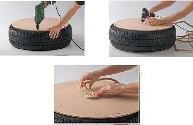 Commencer par visser les plaques de contreplaqué sur le pneu pour former l'assise du coussin de sol. Fixer ensuite la corde sur le coussin en formant des spirales