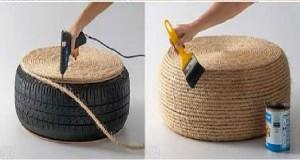 Une idée déco récup à saisir pour faire soi-même un coussin de sol avec de la corde et un pneu usagé recyclé