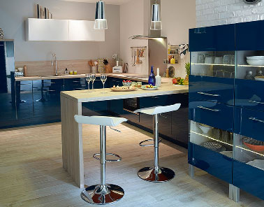 meuble cuisine bleu pour cuisine ouverte castorama. Black Bedroom Furniture Sets. Home Design Ideas