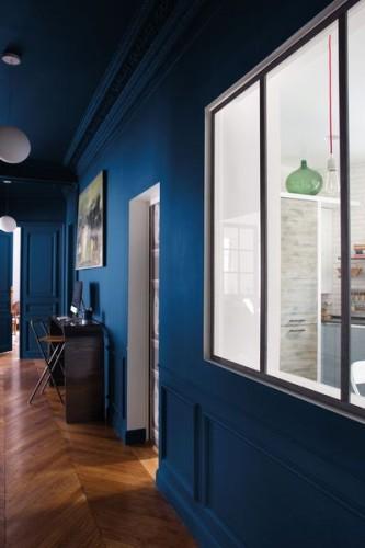 Couloir peinture couleur Nocturne, bois flotté et blanc Tollens collection Mise en teinte en vente chez Castorama
