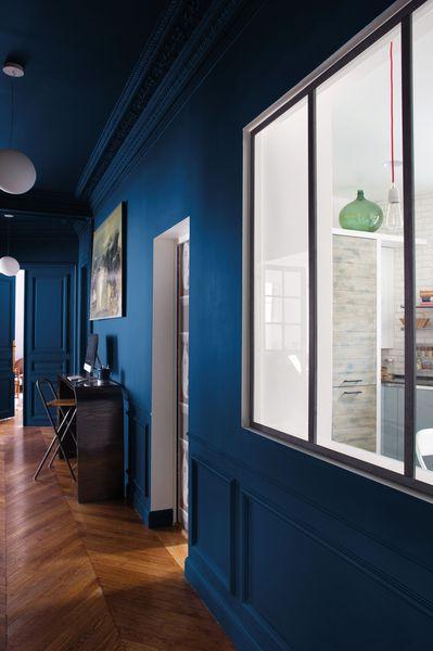 Peinture couleur nocturne bois flott et blanc tollens - Couleur peinture entree couloir ...