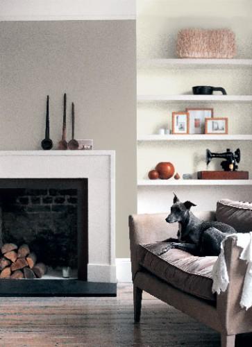 Peinture gris ficelle dans salon ambiance cosy astral for Peinture dans un salon