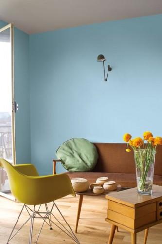 Peinture salon couleur Bleu Rétro de Tollens inspiré de la collection Mise en Teinte ambiance déco vintage