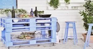 bar de jardin et desserte faire en palette bois - Decoration Jardin Palette De Bois