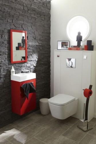 d co wc rouge et gris avec carrelage leroy merlin. Black Bedroom Furniture Sets. Home Design Ideas