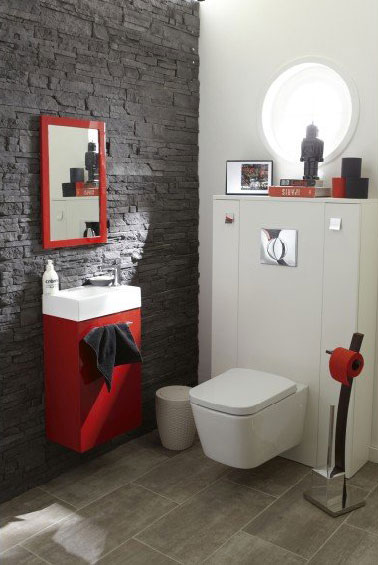 d co wc rouge et gris avec carrelage leroy merlin. Black Bedroom Furniture Sets. Home Design Ideas