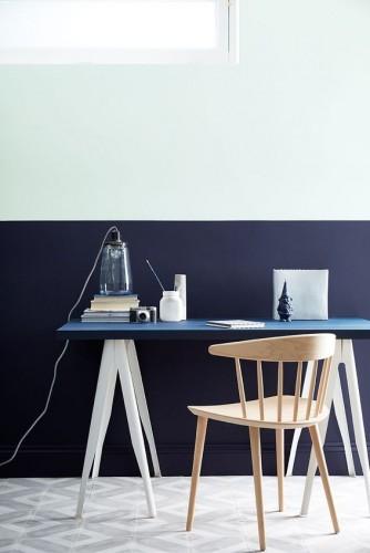 Peinture bleu 21 nuances pour les murs avec little greene for Peinture pour bureau professionnel
