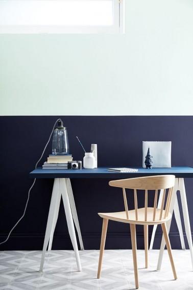 Peinture bureau couleur bleu et blanc for Peinture pour bureau professionnel