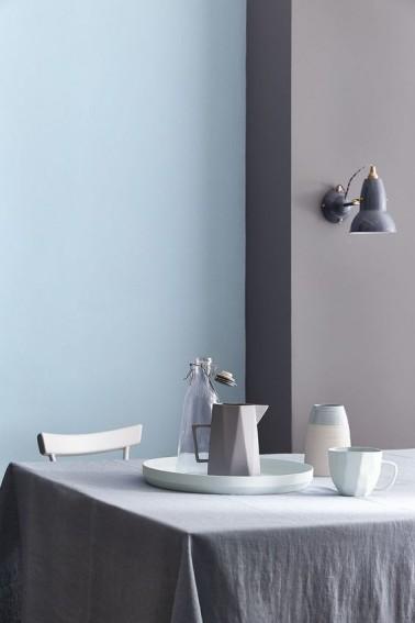 Peinture couleur bleu et gris taupe pour déco salle à manger