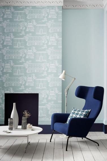 Peinture salon en 3 nuances de couleur bleue Nuance de couleur peinture