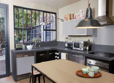 une peinture pour refaire sa cuisine en gris et beige. Black Bedroom Furniture Sets. Home Design Ideas