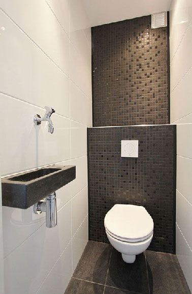 D co wc carrelage gris for Peinture toilettes blanc