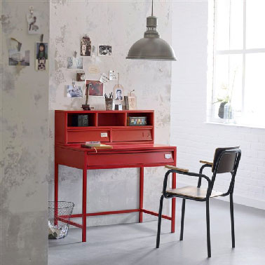 bureau chambre ado m tal rouge la redoute. Black Bedroom Furniture Sets. Home Design Ideas