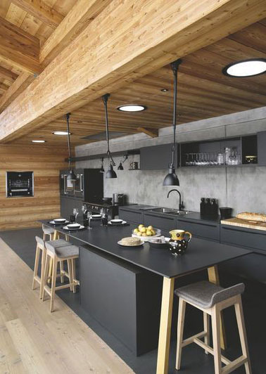 La cuisine noire on adore son look deco cool for La maison contemporaine meubles