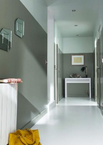 D co couloir avec peinture gris et blanc - Couleur de peinture pour couloir sombre ...
