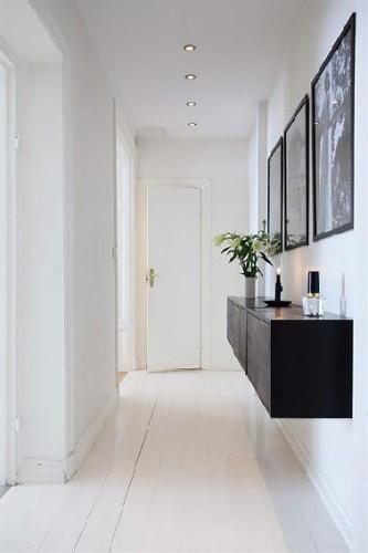 D co couloir d 39 entr e design en noir et blanc - Deco entree couloir ...