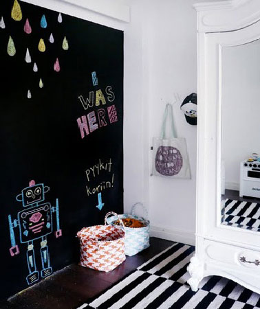 peinture tableau noir sur mur chambre fille. Black Bedroom Furniture Sets. Home Design Ideas
