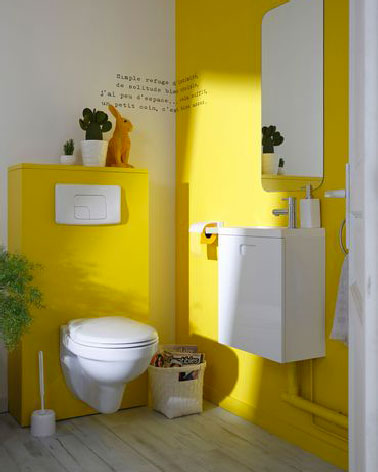 peinture toilette jaune pour d co wc au top. Black Bedroom Furniture Sets. Home Design Ideas