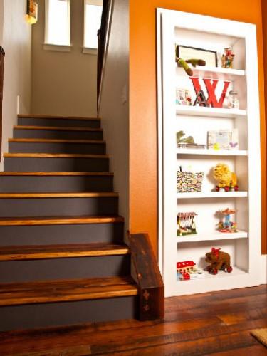 relooking escalier bois avec contremarches peintes marron. Black Bedroom Furniture Sets. Home Design Ideas