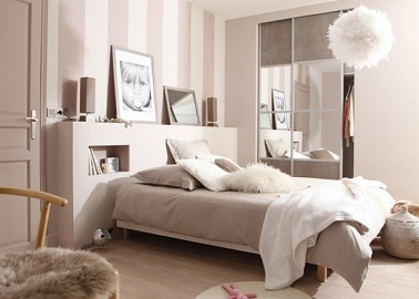 Une chambre cocooning rose leroy merlin for Idee amenagement chambre adulte