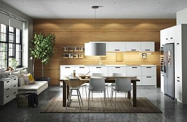 La convivialité s'invite autour de la table dans cette cuisine Ikea. Totalement ouverte, cette cuisine chaleureuse joue la transparence absolue sans limite.