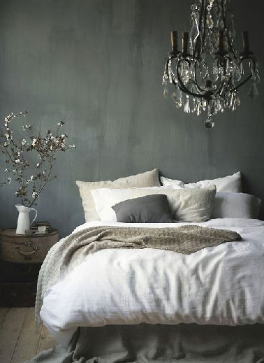 D co chambre grise et lin ambiance baroque - Chambre baroque chic ...