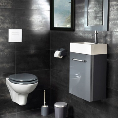 D co wc gris anthracite esprit contemporain - Deco carrelage wc ...