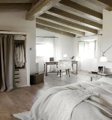 D coration chambre adulte cosy en gris et taupe - Chambre taupe et blanc casse ...