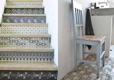 Idée déco escalier avec des carreaux de ciment