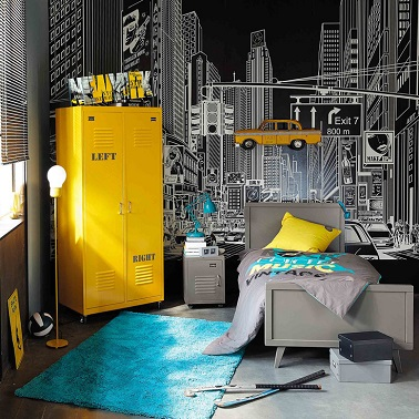 Un style new york une id e chambre gar on ado for Idee decoration chambre ado new york