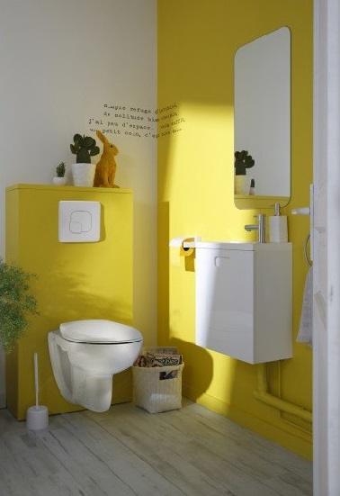 d co wc avec une peinture couleur jaune. Black Bedroom Furniture Sets. Home Design Ideas