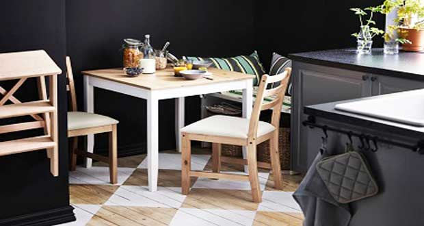 Petites tables de cuisine en 14 mod les d co gain de place for Decoration table de cuisine