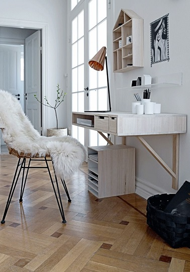 am nagement bureau style scandinave dans salon. Black Bedroom Furniture Sets. Home Design Ideas