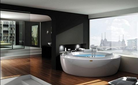Une baignoire jacuzzi balnéo installée dans l'angle d'une grande salle de bain moderne.