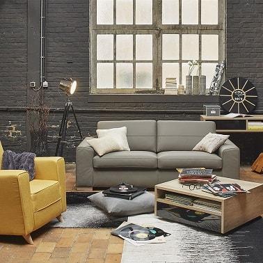 Un petit canapé gris clair pour un studio déco industrielle.