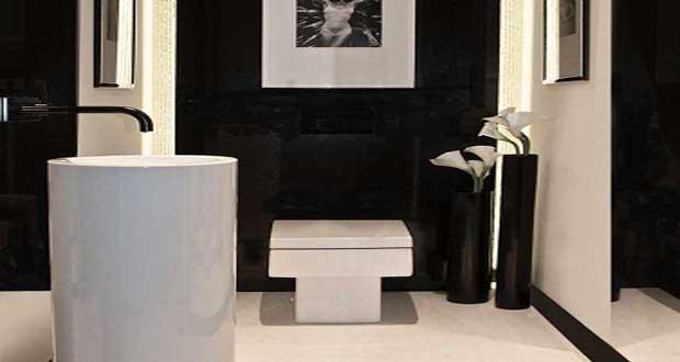 Des wc noir une couleur d co pour les toilettes - Modele carrelage wc ...