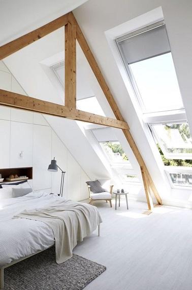 chambre sous pente blanche d co pur e. Black Bedroom Furniture Sets. Home Design Ideas