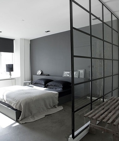couleur gris anthracite dans une chambre parentale. Black Bedroom Furniture Sets. Home Design Ideas