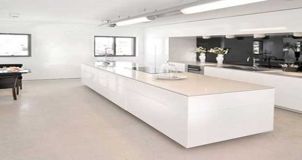 Cuisine blanche avec lot central design for Cuisine blanche design