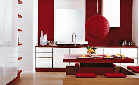 12 inspirations d co pour une cuisine rouge deco cool. Black Bedroom Furniture Sets. Home Design Ideas